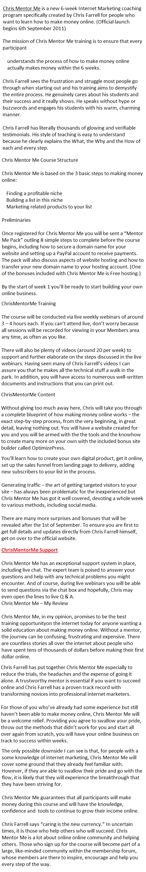 Chris Mentor Me Review